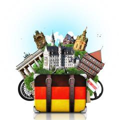 Germany, german landmarks, travel and retro suitcase