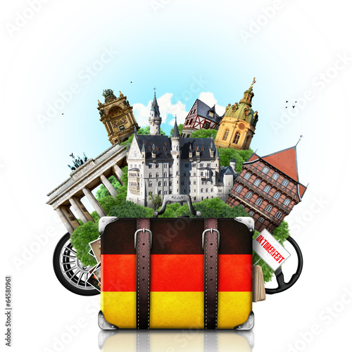 canvas print picture Germany, german landmarks, travel and retro suitcase