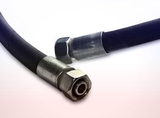 Rubber industrial pressure rubber hose with fittings.