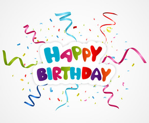 Happy birthday greeting card with ribbon
