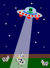 UFO kidnapping with cow