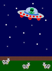 UFO flying over a field