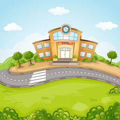 Illustration of School Building.