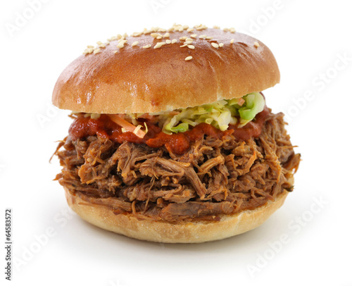 pulled pork sandwich isolated on white background
