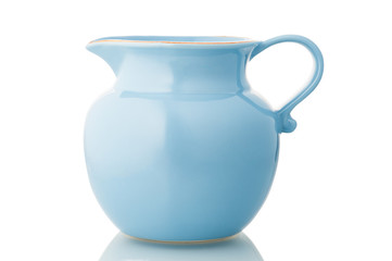 Blue ceramic pitcher