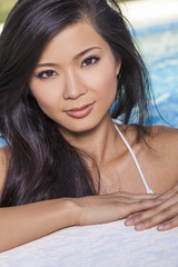 Asian Chinese Woman Girl in Swimming Pool