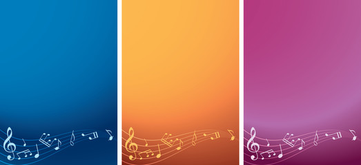 vector set - music backgrounds with notes