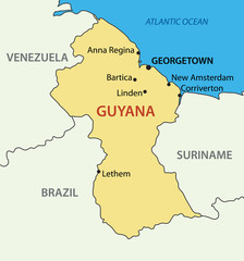 Co-operative Republic of Guyana - vector map