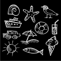 Set of summer chalk doodles, sketches isolated, vector