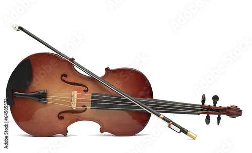Leinwanddruck Bild wood violin isolated over white
