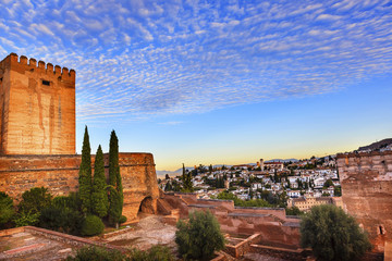 Alhambra Morning Sky Granada Cityscape Churches Andalusia Spain