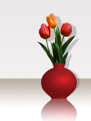 Tulips in bouquet isolated on white.