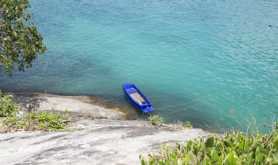 Blue row boat at Raya island, Phuket, Thailand