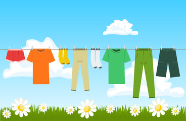 Illustration of clothes drying outdoor