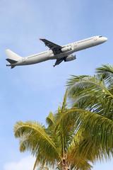 Flugzeug startet während Ferien auf Reisen in den Urlaub