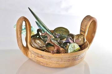 antike römisch griechische schale mit schatz, kylix, kyathos