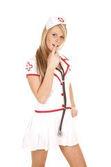 nurse stethoscope arond neck finger mouth
