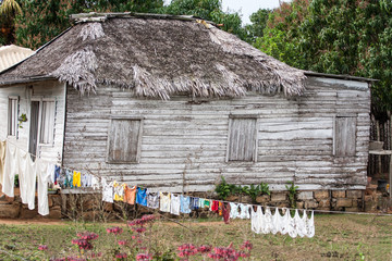 Typical wooden house in countryside, Cuba