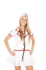 nurse stethoscope around neck hands hips