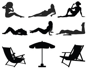 Black silhouettes of girls  on the beach, vector illustration