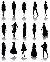 Black silhouettes and shadows of fashion, vector