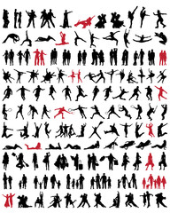 Black  silhouettes of people, vector