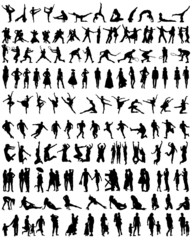 Big set of silhouettes of people, vector