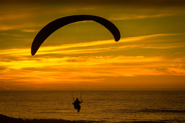 Paraglide Silhoutte During Dawn