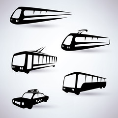 public city transport vector icons set
