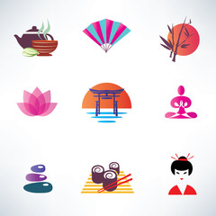 japanese culture, set of icons