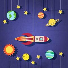 Paper rocket in space