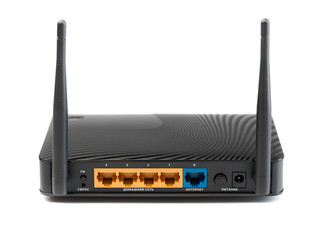 Wireless router for internet connections. The view from the rear