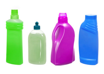 Plastic bottles with detergent isolated on white