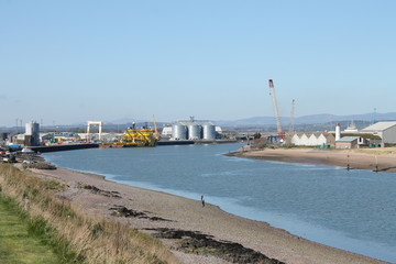 Montrose harbour at mouth of river South Esk, Scotland