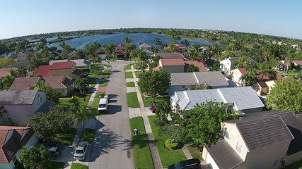 Aerial view of suburban Florida homes
