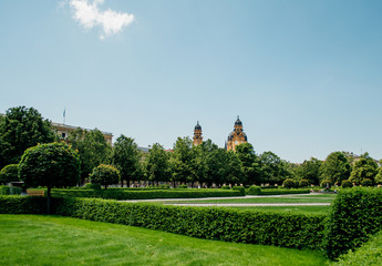 Hofgarten park in Munich, Germany on a sunny summer day