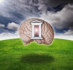 Digital composite of an open door on a brain model