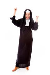 Young nun celebrating success