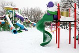 Outdoor toys in wintertime poster