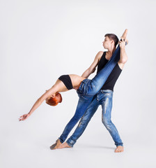 Couple of young modern ballet dancers