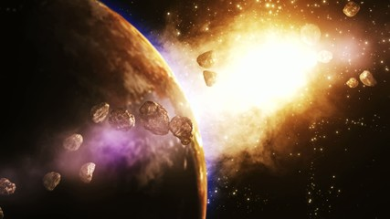 Amazing Earth animation surrounded with Asteroids
