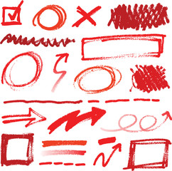 Collection of hand-drawn red pencil corrections