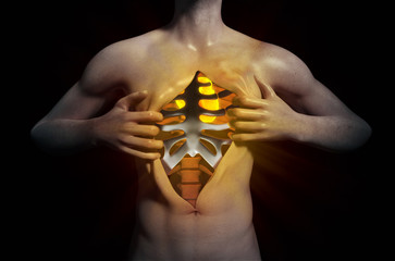 Heart inside a ripped open chest