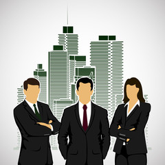 businessmen on city background