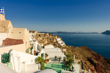 Scenic view of  Oia village over the ruins