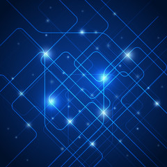 Abstract lines, technology blue background