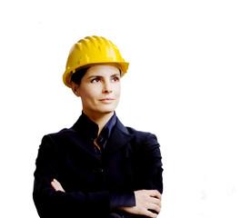 female engineer against white background