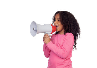 African little girl with a megaphone