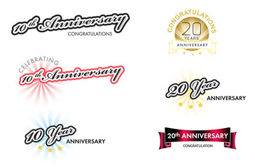 Anniversary labels collection, vector illustration