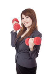 Asian businesswoman lift drumbbells and smile